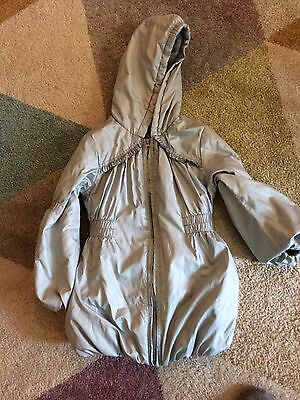 Girls Silver Warm Winter Coat Age 6-7 Vgc George