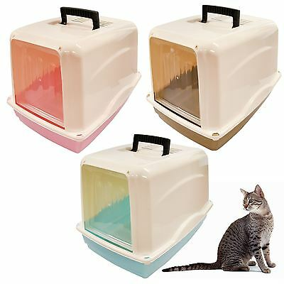 Pet Cat Litter Box Hooded Tray Toilet Swing Door Portable Carry Handle Large