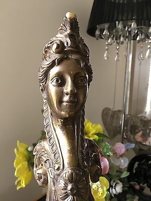 Antique Bronze Furniture Corner Godess Woman lady Decoration Mount  Pediment