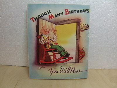 Old man dreaming of busty Glamour Girl – colourful Birthday Card 1950s
