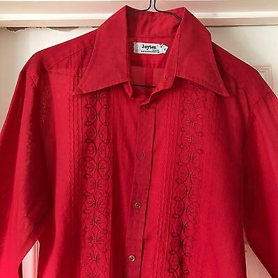 Men's Amazing Bright Red Hatted Embroidered Shirt, Psych '60s 70s Jaytex Vintage