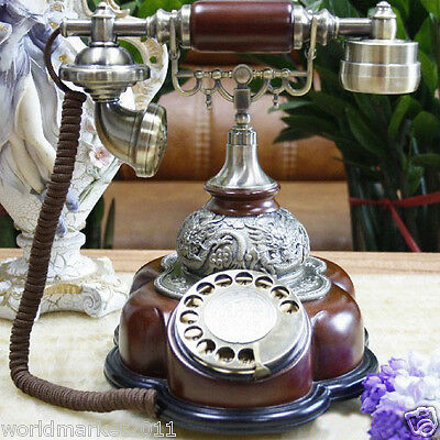 European Antique Reproduction Solid Wood + Metal Red Rotary Dialer Telephone