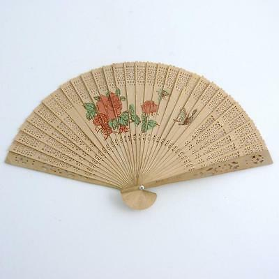 Vintage Chinese Pierced Wood Brise Hand Fan With Floral And Waterscape Scenes