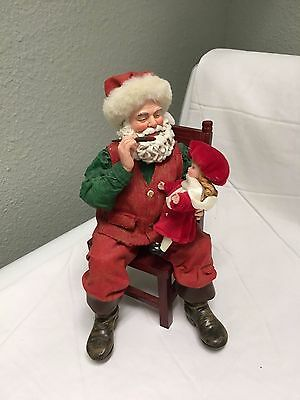 Possible Dreams Clothtique Santa Figurine On Chair  Painting Doll 2003
