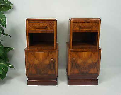 VERY ATTRACTIVE c1930s PAIR ART DECO FRENCH BURR WALNUT BEDSIDE CABINETS TABLES
