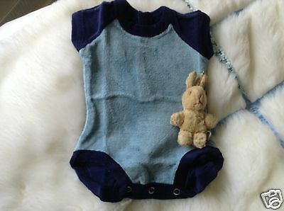 VINTAGE AUTHENTIC CLOTHING BABY ROMPER 3/6 MONTHS decade  1960 s NAVY UNUSED