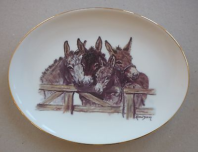 Donkey Porcelain Plate 8.75 Wide Gold Rim By Paddock House Collection