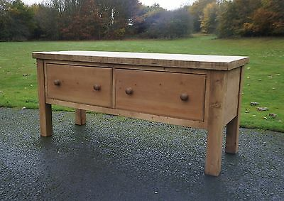 Superb Solid Antique Pine Butchers Block Country Farmhouse Kitchen Island Table