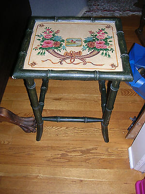 Unusual Vintage Side Table Pagoda Scene Removable top As is