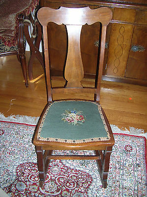 Antique Sewing Rocker - Small Cute Rocking Chair with Embroidered Seat