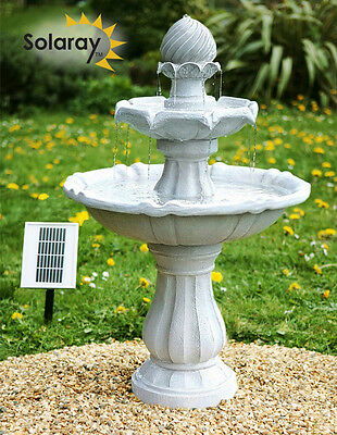 Solar Powered Classical 3 Tier Water Feature Fountain Imperial Tiered Cascade