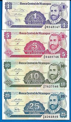 Nicaragua Set #1 P-167,168,169,170, Uncirculated FREE SHIPPING