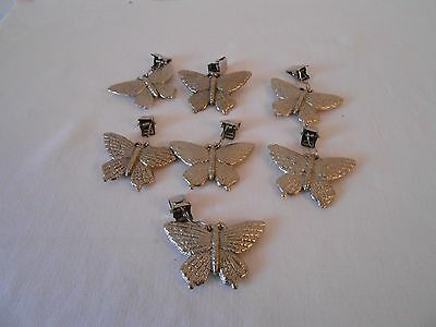 7 Silver Metal Butterfly Napkin Clips / Holders   New
