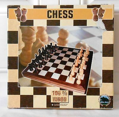Wood Wooden Chess Set With Foldable Box / Board In Shape of a Book  New