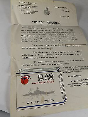 Antique Letter from Wills Cigarettes Introducing Flag Cigarettes Magnum Size1927