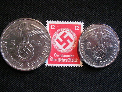 Old German NAZI WAR COIN SET 1937 WWII w/Sw. +RARE STAMP