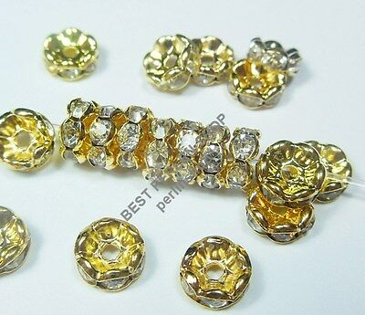 35 METALL PERLEN GLASS STRASS RONDELL SPACER BEADS 8mm GOLD FARBE R25D