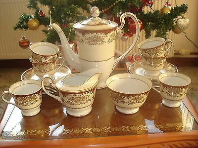 Noritake 15 Piece Coffee Set    Red/Gold /Cream/ White-with raised gold flowers