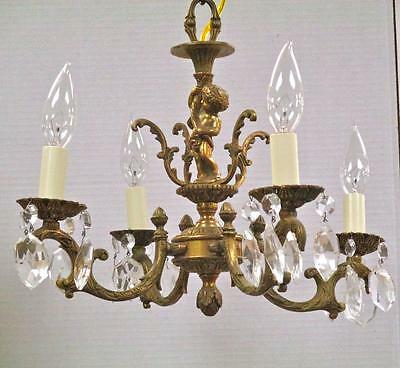 "Vintage Cast Bronze & Crystal Putti Four Arm Chandelier Light 16""d Italy"