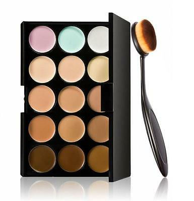 Cosmetic Makeup Blusher Toothbrush Curve Foundation Brush+15 Colors Concealer A