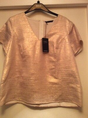 Marks & Spencer Ladies Christmas Evening Top - S16 - Gold - BNWT
