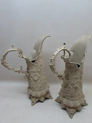 Antique Victorian Cast Metal Pitcher Ewer Planter Pair Architectural Garden Lion