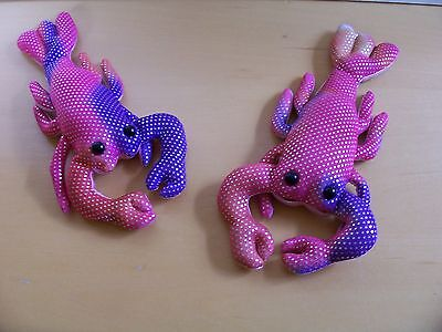 two soft sparkled material crayfish beanies - excellent condition