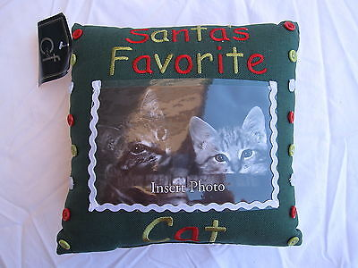 Santa's Favorite Cat Pillow - Add Your Own Photo!  NWT