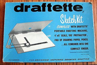 VINTAGE DRAFTETTE PORTABLE DRAFTING MACHINE In Original Box MODEL NUMBER 68-046