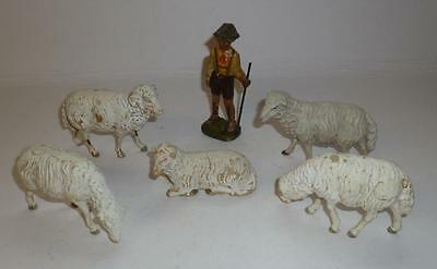 Elastolin Vintage Composition Prewar Farm Shepherd Boy With Flock Of Sheep
