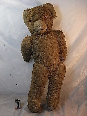 Ancien Ours Paille Crin Peluche Jouet Teddy Bear Toy