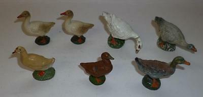 Elastolin, Lineol And Leyla Vintage Composition Prewar Farm Ducks And Geese