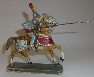 Elastolin Vintage Composition Rare 1930/50's Mounted Knight With Lance #1