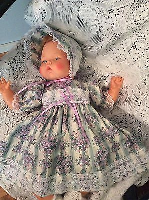"""Doll Clothes for 19""""/20"""" Large Thumbelina """"Green Floral Dress Set"""" by Maureen"""