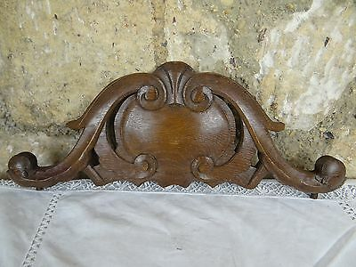 "15.75 "" Beautiful  Antique French Hand Carved Pediment 19 th - Solid Oak"