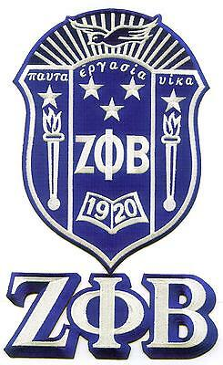 "ZETA PHI BETA Shield / Crest / Emblem Patch  -  12"" with Letters"