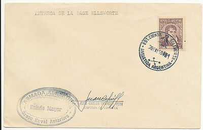 1959 Argentina VF Antarctic Cancel with Ship Naval Marking & Autograph ?