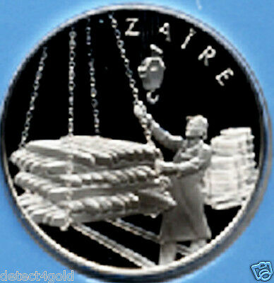 Zaire Silver Coin Medal W/ Postage Stamp Cover