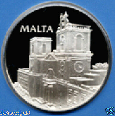 Malta Solid Sterling Silver Coin Medal W/ Postage Stamp Cover UN