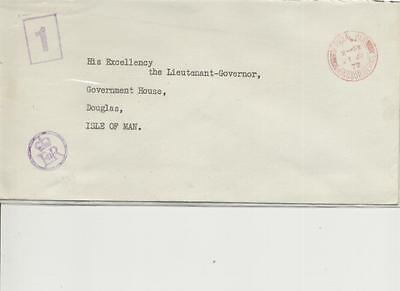 1972 Embossed and Purple cachet ER envelope to Isle of Man Governor