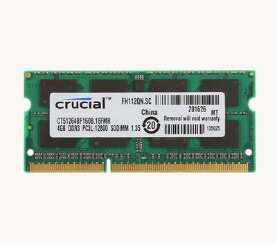 Crucial RAM 4GB DDR3 2RX8 1600mhz PC3-12800S 204pin SODIMM Notebook intel Memory