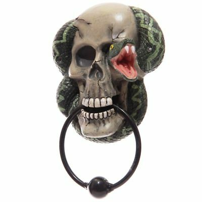 Door Knocker with Skull and Snake Design