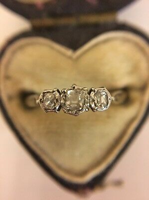 Antique Victorian Unusual 18ct Yellow Gold And Platinum Diamond 3 Stone Ring Old