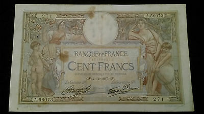 """Série:A.56073"""".100frs RARE date OLIVIER MERSON 2.12.1937"""