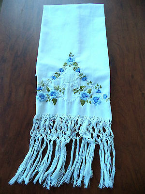 Vintage SHOW TOWEL Elaborate Blue Floral Embroidery Hand Tied Fringe 16 x 31