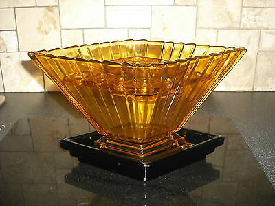 Art Deco Amber Glass Vase with Frog and Stand