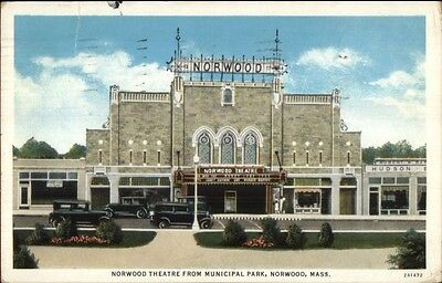 Norwood MA Theatre From Park c1920 Postcard