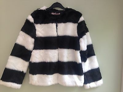 Girls Age 9/10 Years Faux Fur Jacket Black/ White Block Stripe Fully Lined Bnwt