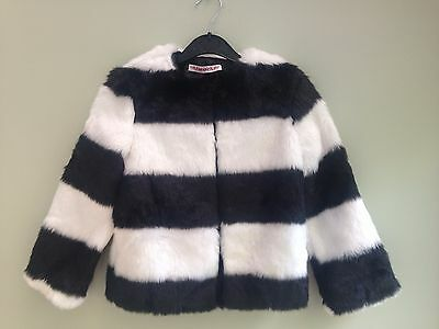 Girls Age 7/8 Years Faux Fur Jacket Black & White Block Stripe Fully Lined Bnwt