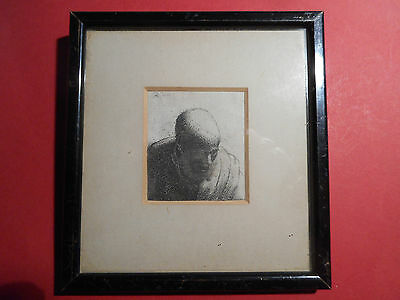 old framed print / engraving HEAD OF A MAN dated 1631 style of REMBRANDT
